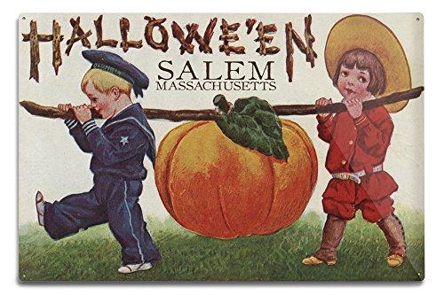 Lantern Press Salem, Massachusetts - Halloween Kids and Pumpkin - Vintage Postcard (12x18 Aluminum Wall Sign, Wall Decor Ready to Hang)]()