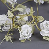 Vintage style flower garland Cream Rose and Leaf Swag by Four Seasons Liverpool