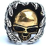 Men's Stainless Steel Finger Rings Gothic Casted Skull Biker Gold Leaf 2.5cm