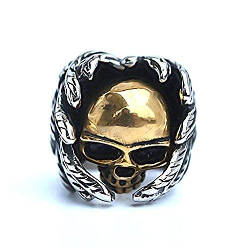 [Men's Stainless Steel Finger Rings Gothic Casted Skull Biker Gold Leaf 2.5cm Size 12] (Johnny Depp Wolf Costume)