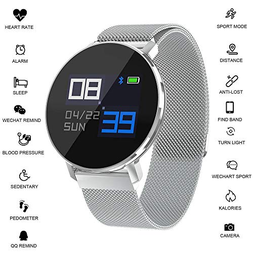 Morenitor Fitness Tracker Women Men, T5 Smart Watch with Slim Touch Screen and Metal Wristbands, Wearable Activity Tracker as Heart Rate Monitoring Sleep Monitor (Silver)