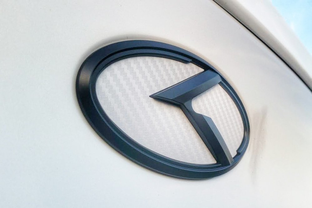 Fit: KIA 2009-2013 Forte Koup , Cerato Koup Rear Mini Sticker 3D K Logo Emblem White Carbon Fiber /& Black Edition Set 3pc Front