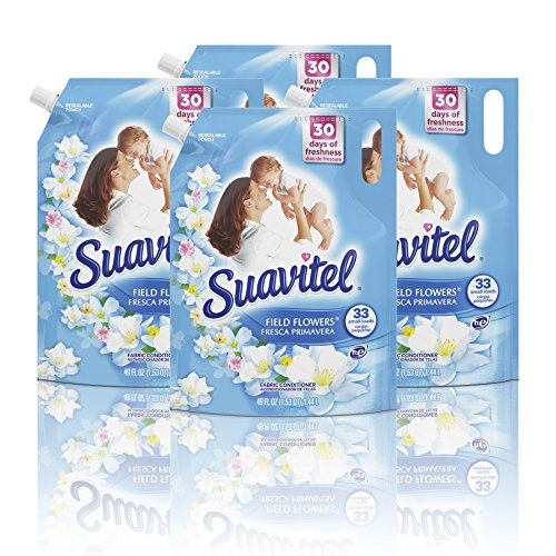 Suavitel Liquid Fabric Softener Stand Up Pouch, Field Flowers - 49 Fluid Ounce (4 Pack)