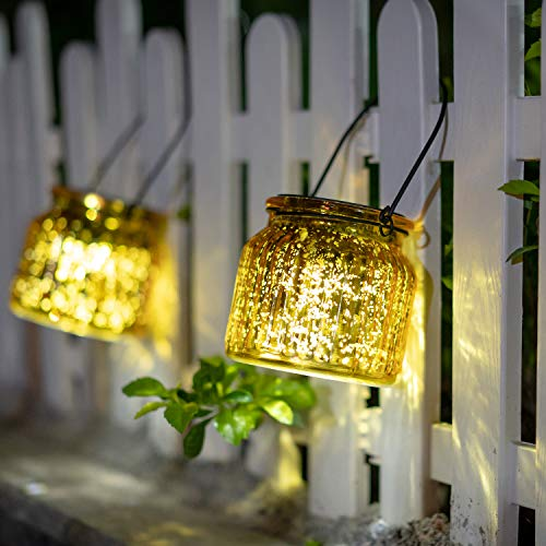 Solar Mercury Glass Mason Jars - 2 Pack SUNWIND Solar Rotating Table Lights with Color Changing Mode and White Mode Outdoor Hanging Lights for Garden, Patio, Home Decoration (Golden)
