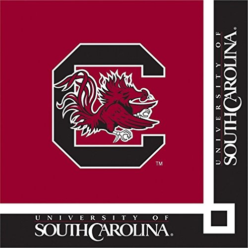 South Carolina Gamecocks NCAA Napkins Sports Themed College University Party Supply Napkins for Drinks at 20 Guests Bordeaux Black Multi Color Paper Napkins Baseball Soccer Football Basketball Tennis