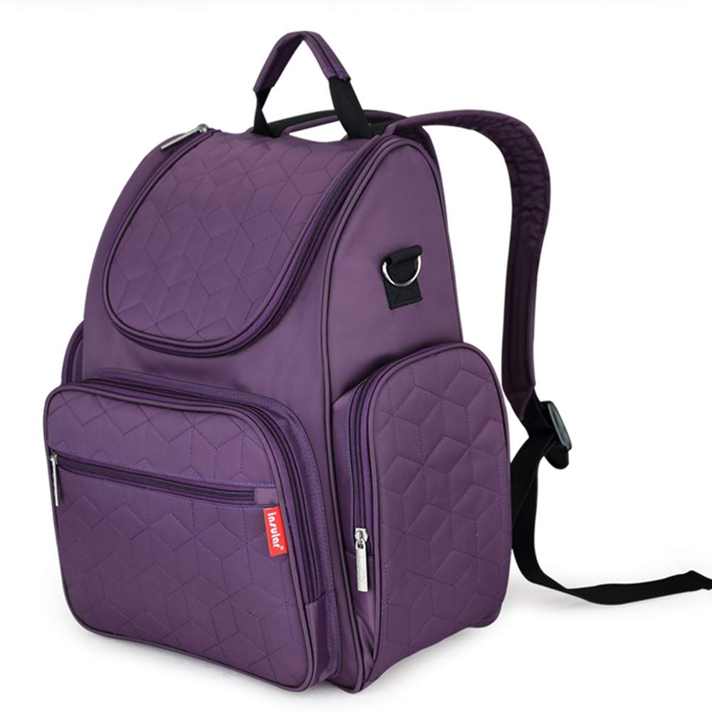 Diaper Bag Backpack with Stroller Straps, Changing Pad and Insulated Pockets - (Purple)