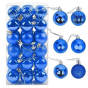 ZoneYan Palle di Natale 4cm, Palline Dell'Albero di Natale, Addobbi Natalizi Palline per Albero, Set Palla di Natale, Albero di Natale Palla Decorazioni con Albero Natale Scintillante—36 Pezzi (Blu) 2 spesavip