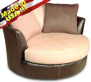 Roundhill Furniture Laredo Round Swivel Accent Chair, Mocha