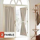 """french door curtain panels  Blackout Door Curtain, Elegance French Door Curtains for Privacy, Thermal Insulated Door Curtain Panels, Room Darkening Door Window Curtain (50"""" x 72"""" 2pcs: Beige)"""