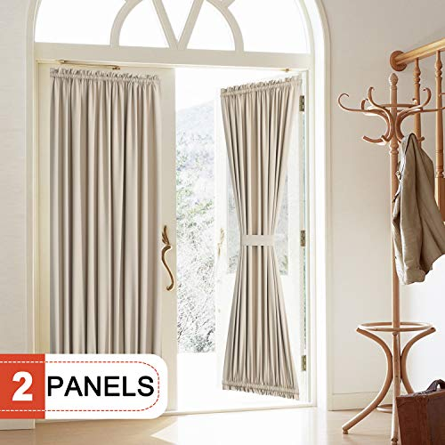- Rose Home Fashion Blackout Door Curtain, Elegance French Door Curtains for Privacy, Thermal Insulated Door Curtain Panels, Room Darkening Door Window Curtain (50