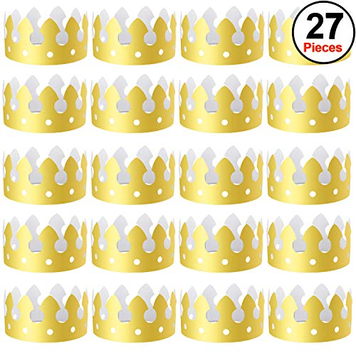 SIQUK 27 Pieces Gold Paper Crowns Party King Crown Paper Hats Paper King Crowns for Birthday Party and Celebration