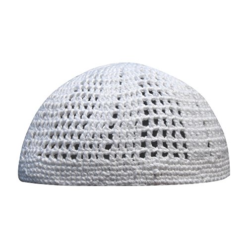 (White Kufi Hat Tight and Loose Weave Mix Crocheted 100% Cotton Prayer Cap (L))