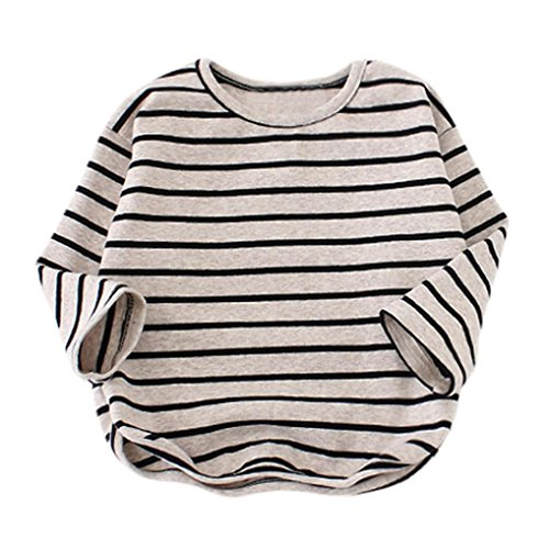 Raptop Baby Girls Boys Long Sleeve Stripe Tops T-Shirt Loose Blouse Sweater Outwear Outfits Clothes Black, 12M(9-12Months)