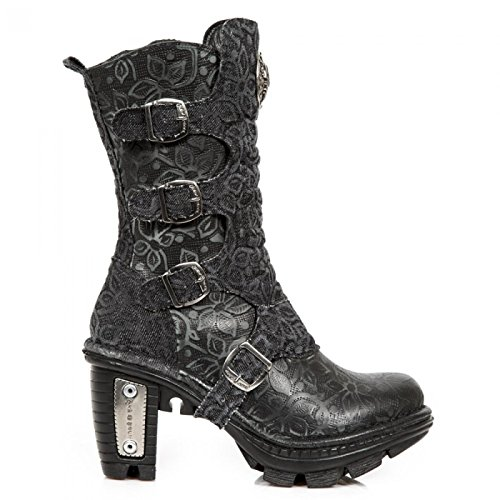 New Rock Laarzen M.neotr025-s5 Gothic Hardrock Punk Damen Stiefel Schwarz