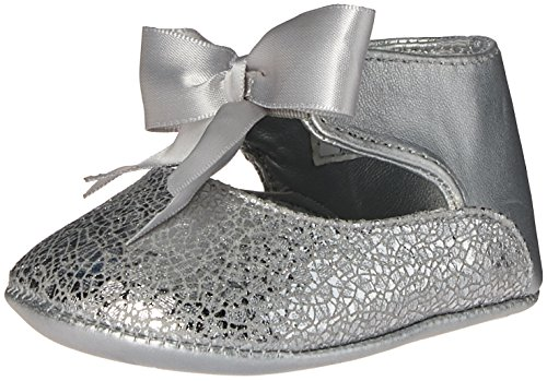 Image of Baby Deer Girls' Metallic Ankle Strap with Bow Slip-On, Silver, 3 M US Infant