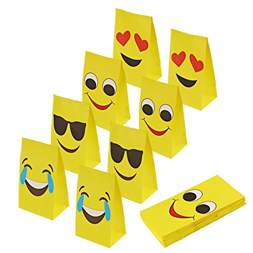 aresmer Emoji Paper Bags Party Treat Bags for Kids, 4 Differ