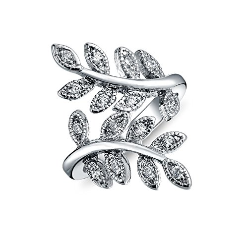 Ivy Vine Ring - Bling Jewelry Pave CZ Ivy Leaf Vintage Style Vine Rhodium Plated Ring