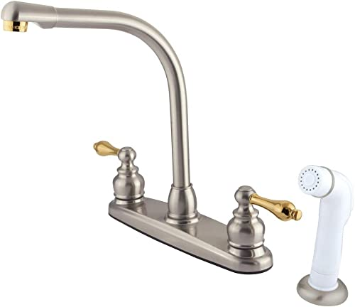 Kingston Brass GKB719AL Victorian Centerset Kitchen Faucet, 7 in Spout Reach, Brushed Nickel Polished