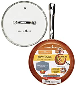 """Copper Chef 10"""" Round Pan with Glass Lid"""