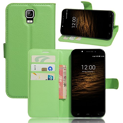 Qiaogle Phone Case - PU Leather Stand Wallet Flip Case Cover for UMI Rome / UMI Rome X (5.5 inch) - FC07 / Green Classic Solid Color Business Style