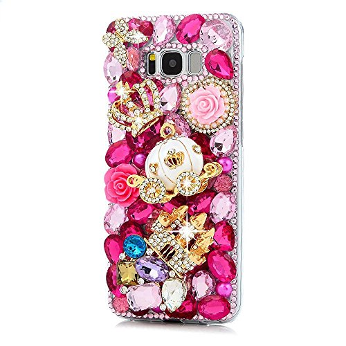 Galaxy S8 Active Case, STENES 3D Handmade Luxury Crystal Crown Castle Pumpkin Car Rose Flowers Floral Sparkle Rhinestone Cover Bling Case for Samsung Galaxy S8 Active with Retro Anti Dust Plug - Red (Pumpkin Rhinestones)