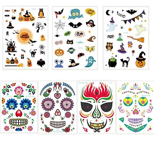 Spestyle Halloween tattoo stickers 3pcs halloween temporary tattoo stickers and 4pcs face stickers in 1 package, it including bat, cat, Pumpkin, devil, elf, angel, witch,spider web, skull head,etc. -