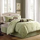 Madison Park Freeport 7 Piece Jacquard Comforter Set, California King, Sage