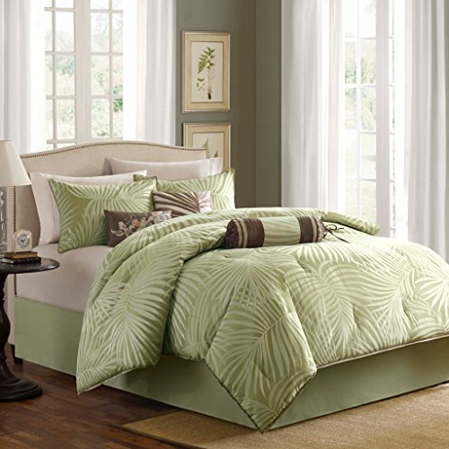 Madison Park Freeport Cal King Size Bed Comforter Set Bed In A Bag - Green, Jacquard Palm Leaf – 7 Pieces Bedding Sets – Peach Skin Fabric Bedroom - Contemporary Set King California Bedroom