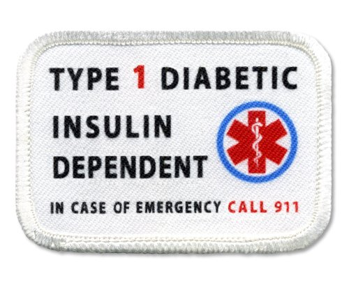 DIABETIC Type 1 Insulin Dependent Rectangle 2 x 3 inch Sew-on Patch