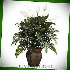 JumpingLight 6677 Mixed Greens with Spathyfillum & Decorative Vase Silk Plant Artificial Flowers Wedding Party Centerpieces Arrangements Bouquets Supplies