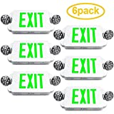 eTopLighting 6 Packs of LED Green Exit sign Emergency Light Combo with Battery Back-Up, EL2BG-6