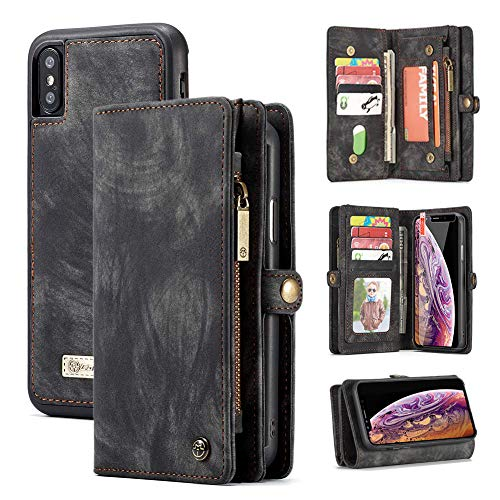 iPhone Xs Max Wallet Case,Zttopo 2 in 1 Leather Zipper Detachable Magnetic 11 Card Slots Card Slots Money Pocket Clutch Cover with Free Screen Protector for 6.5 Inch iPhone Case -Black Grey