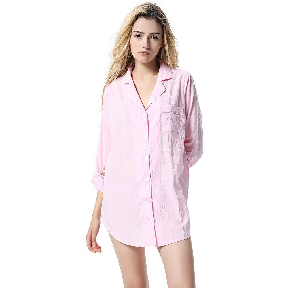 Women's Winter T Shirt Pajamas Dress Soft Long Sleeves Nightwear Pink Ladies Winter (Size   S)