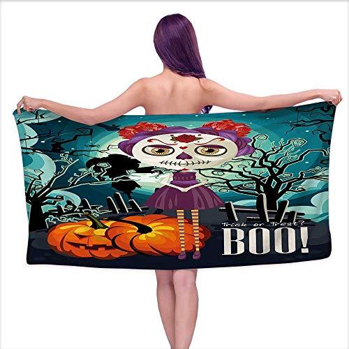 Glifporia White Bath Towels Bulk Halloween,Cartoon Girl with Sugar Skull Makeup Retro Seasonal Artwork Swirled Trees Boo,Multicolor,W20 xL39 for Youth Girls -