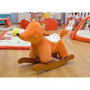 Labebe Child Rocking Horse Toy, Stuffed Animal Rocker Toy, Orange Fox Rocking Horse Plush for Kid 1-3 Years, Wooden Rocking Horse/Stuffed Animal/Baby Rocker Horse/Ride Animal/Rocking Horse for Toddler