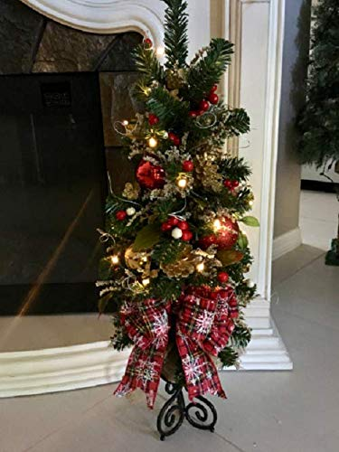 Brilliant Christmas Topiary Tree. Red Country Snow Flake Ribbon, 26 x 11 inch, FREE SHIPPING
