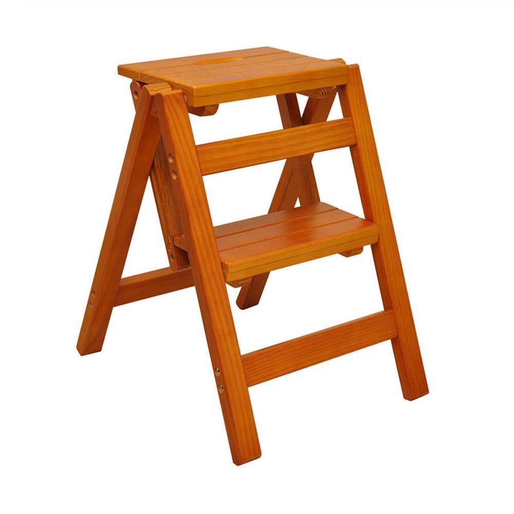 LIXIONG 折りたたみステップスツール 家庭 多機能 木製はしご 、大きな支持力 (色 : Brown, サイズ さいず : 39.5X43X47.5CM) B07H6TSV24 Brown 39.5X43X47.5CM