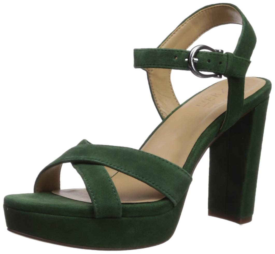Naturalizer Women's MIA Heeled Sandal, Forest Green Suede, 10 M US by Naturalizer