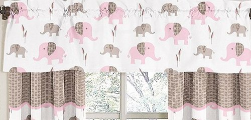 Sweet Jojo Designs Pink and Brown Mod Elephant Window Valance