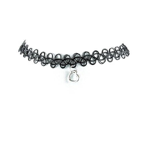 Collar del encanto del collar TrendsMe tatuaje elástico negro ...