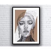 Lady Gaga Portrait Drawing with Born This Way Lyrics - Limited Edition Giclée Art Print - A5 A4 A3 size