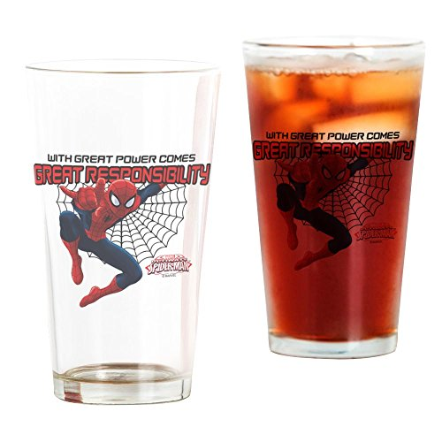 CafePress Spiderman: With Great Power Pint Glass, 16 oz. Drinking Glass