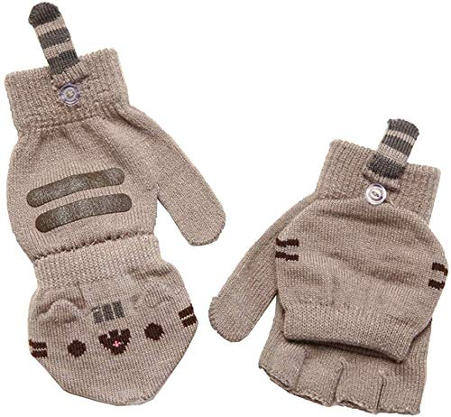 Pusheen Cat Face Fingerless Gloves with Mitten Covers, Gray