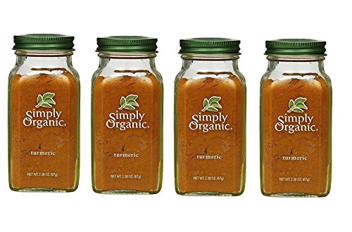 Simply Organic Turmeric Root Ground Certified Organic, 2.38-Ounce Container (4 Bottles) by Simply Organic