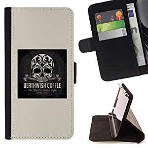 For LG G3 Skull Coffee Death Wish Poster Black Beautiful Print Wallet Leather Case Cover With Credit Card Slots And Stand Function