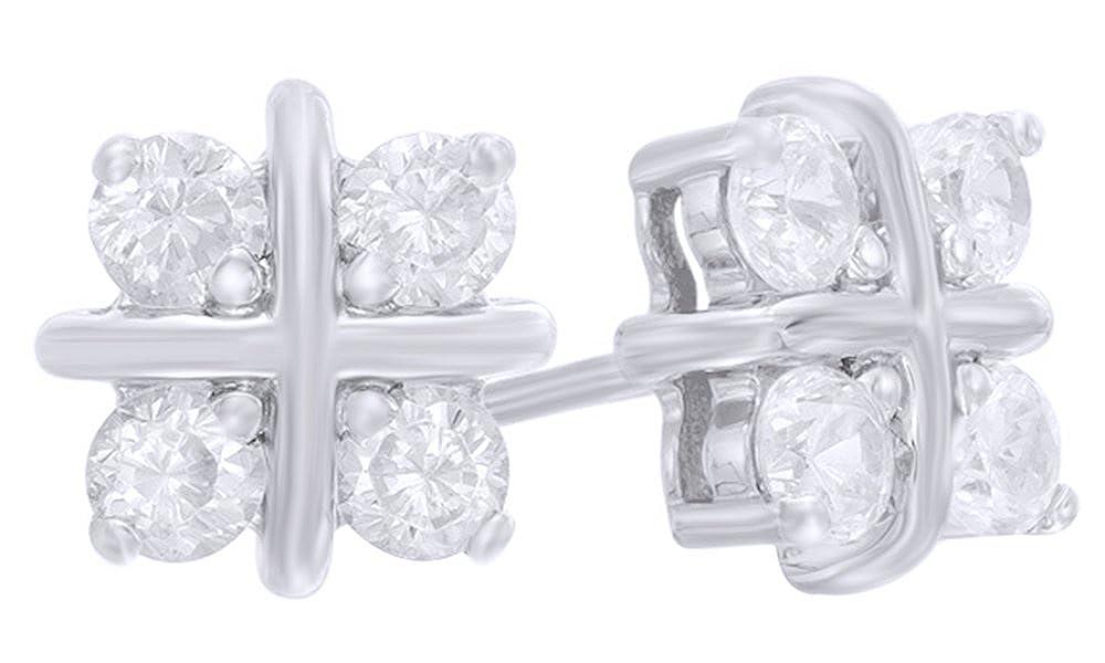 14 Karat (585) Weiãÿold Weiß-Ohrringe 14 Karat 585 WeißGold Diamant (24 Karat GelbGold