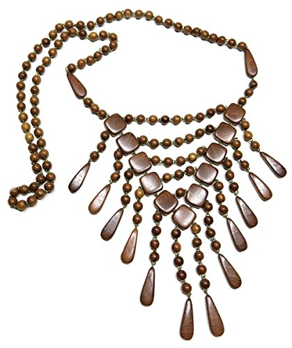 - Keanu Hand Crafted Wooden Ethnic Bohemian Necklace Boho Pendant Y-chain Charm Jewelry, in Mahogany
