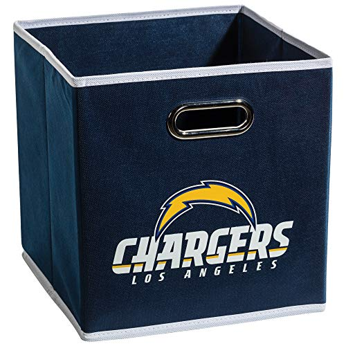 Franklin Sports NFL L.A. Chargers Fabric Storage Cubes - Made To Fit Storage Bin Organizers - Eagles Football Stuff