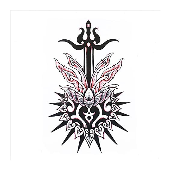 S.A.V.I 3D Temporary Tattoo Waterproof Sticker Beautiful Black Big Rose Tribal Totem Popular New Designs Size - 21x15cm