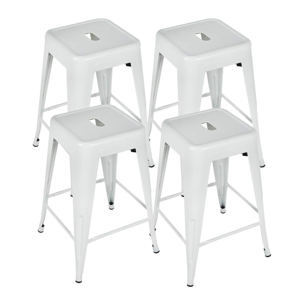 Bonzy Home Metal Bar Stools, 24 Inch Counter Height Stackable Barstools Indoor Outdoor Patio Furniture Dining Backless Kitchen Bar Stools Set of 4